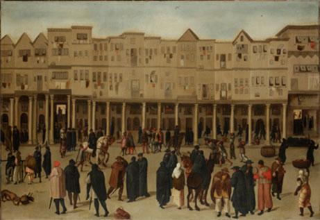 'Lisbon, The Rua Nova dos Mercadores', c.1550-1600 (c) The Society of Antiquaries of London